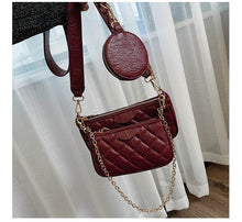 Load image into Gallery viewer, Fashion Solid Color PU Leather Shoulder Messenger Bag Casual Crossbody Bags Women Handbags Totes Bag 3 Sets Evening Clutch Purse