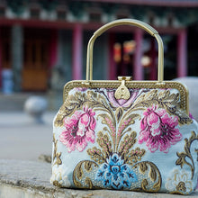Load image into Gallery viewer, Alasir Vintage Style Ladies Handbag Cheongsam Antique Style Women Bag Chinese Style Embroidered Flowers Frame Bag