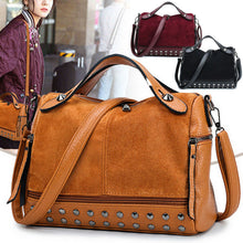 Load image into Gallery viewer, Women Lady Faux Leather Handbag Shoulder Messenger Bag CrossBody Bags Large Capacity Travel Rivet Matte Tote