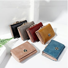 Load image into Gallery viewer, Short Women's Wallet for Woman Small Wallets Leather Coin Purse Ladies Fashion Hasp Female Wallet Mini for Student Card Holders