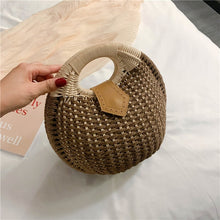 Load image into Gallery viewer, Elegant Female Round Tote bag 2020 Summer New High quality Straw Women's Designer Handbag Travel Clutch bag Female Banquet bag