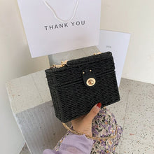 Load image into Gallery viewer, Elegant Female Box Tote bag 2020 New High-quality Straw Women's Designer Handbag Weave Chain Shoulder Messenger Bag Beach bag