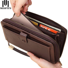 Load image into Gallery viewer, Male Clutch Genuine Leather Men's Wallet Long Wallet Brand Cowskin Card Holder Men Hasp Vintage Clutch Wallets