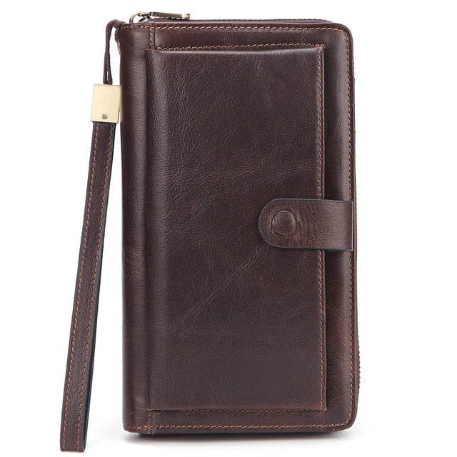 Male Clutch Genuine Leather Men's Wallet Long Wallet Brand Cowskin Card Holder Men Hasp Vintage Clutch Wallets