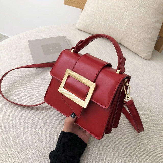 Belt Buckle Design PU Leather Crossbody Bags For Women 2020 Mini Shoulder Simple Bag Female Travel Handbags Simple Style