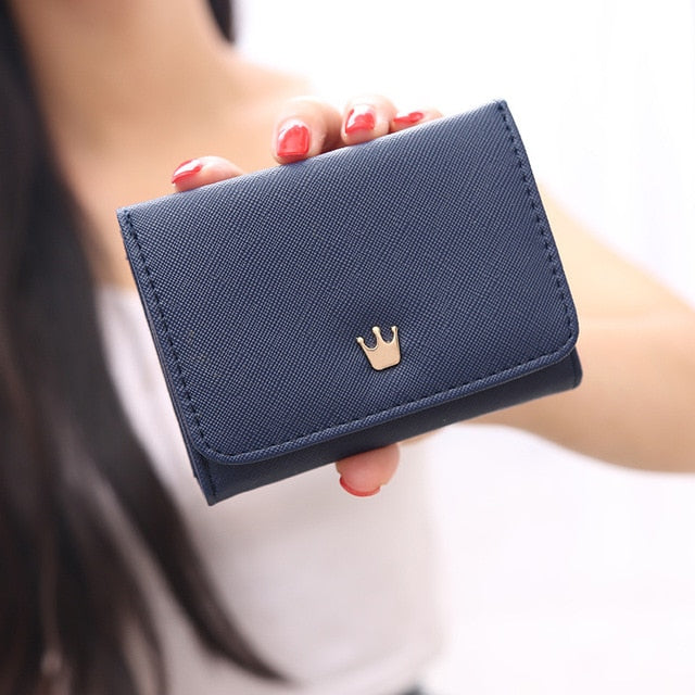 Women's Wallet Short Women Coin Purse Crown Wallets For Woman Card Holder Small Ladies Wallet Female Hasp Mini Clutch For Girl