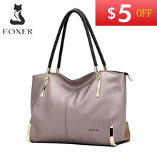 Load image into Gallery viewer, FOXER Brand Women's Cow Leather Handbags Female Shoulder bag designer Luxury Lady Tote Large Capacity Zipper Handbag for Women