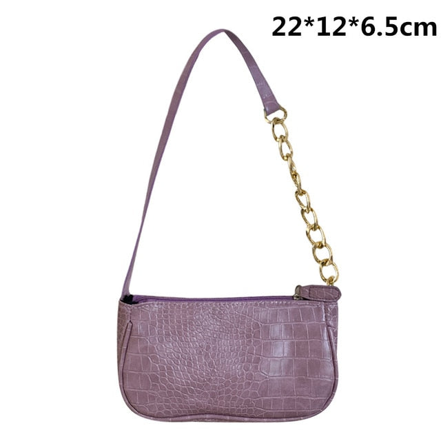 Elegant Women PU Leather Hobo Shoulder Bags Casual Zipper Armpit Sling Handbags Youth Ladies Small Square Bag