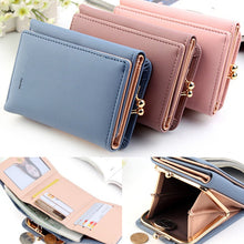 Load image into Gallery viewer, Wallet Women 2020 Lady Short Women Wallets Black Red Color Mini Money Purses Small Fold PU Leather Female Coin Purse Card Holder