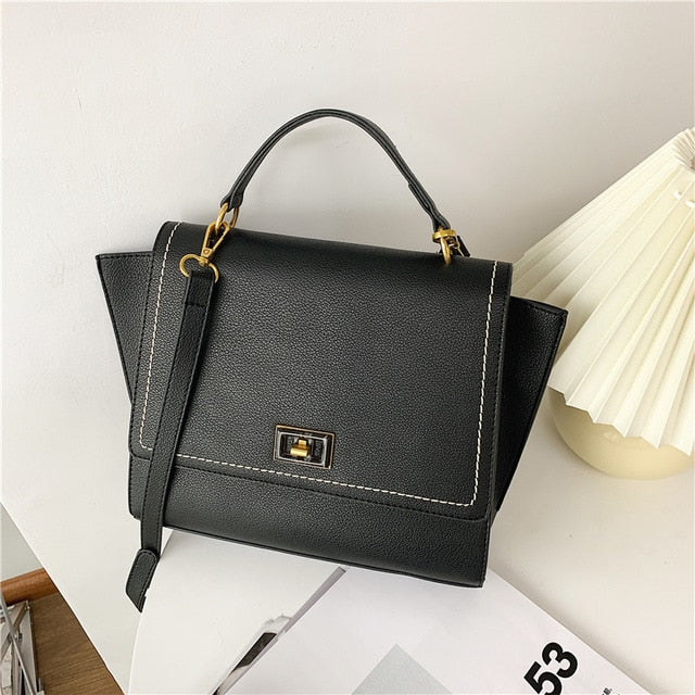 Elegant Female Solid color Tote bag 2020 Fashion New Quality PU Leather Women's Designer Handbag Vintage Shoulder Messenger Bag