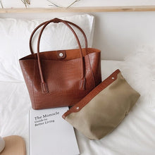 Load image into Gallery viewer, High Capacity PU Leather Shoulder Bags for Women 2020 Trending Branded  Designer Handbags Women's Stone Pattern Large Hand Bag
