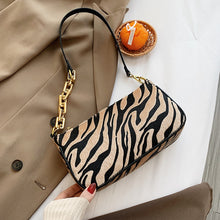 Load image into Gallery viewer, Zebra Pattern Small Velvet PU Leather Shoulder Bags for Women 2020 Trending Chain Handbags Women's Branded Trend Hand Bag