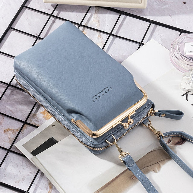 Women's  Wallet New Double-Layer Mobile Phone Bag Korean Ladies Fashion Messenger Shoulder Bag Ultra Soft Multi Card Sto