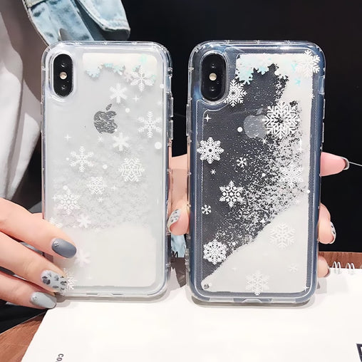 Glitter Liquid Christmas Phone Case  For iphone 11 Pro 6 6S 7 8 Plus Dynamic  Quicksand Cover Phone Cases For iphone X XR XS MAX