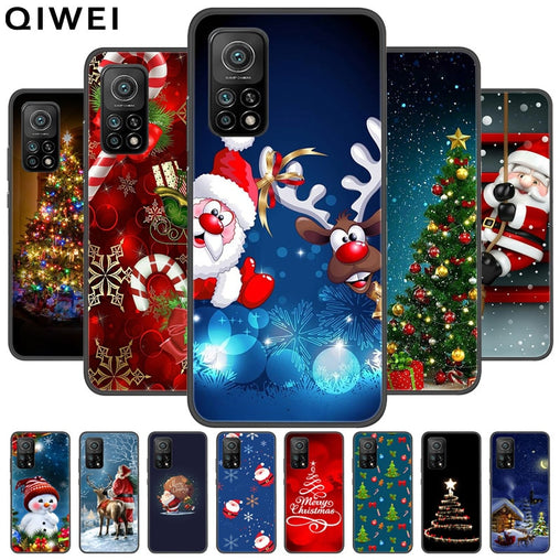 Christmas Case For Xiaomi Mi 10T Case Black Cute Soft Silicone Phone Back Cover For Xiaomi Mi 10T Pro Cases Shells Capa mi 10 t