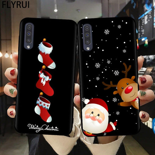 FLYRUI Cartoon Christmas Phone Case For Samsung A21S A51 A71 A20 A30 A40 A50 A70 A6 A8 Plus A7 A9 2018 Santa Claus Soft Cover