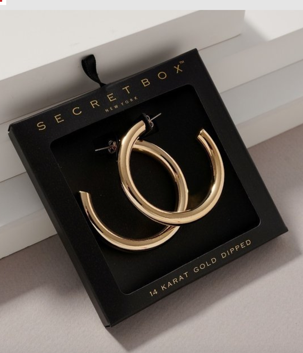 Secret Box Large Chunky Gold Hoops