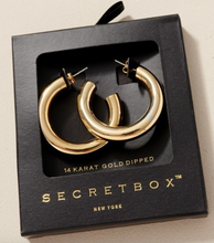 Load image into Gallery viewer, Secret Box Small Chunky Gold Hoops