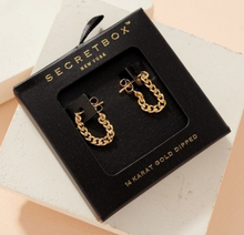 Load image into Gallery viewer, Secret Box Gold Chain Hoop Earrings