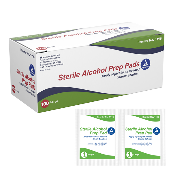 Alcohol Prep Pad Sterile, Large | Box/100