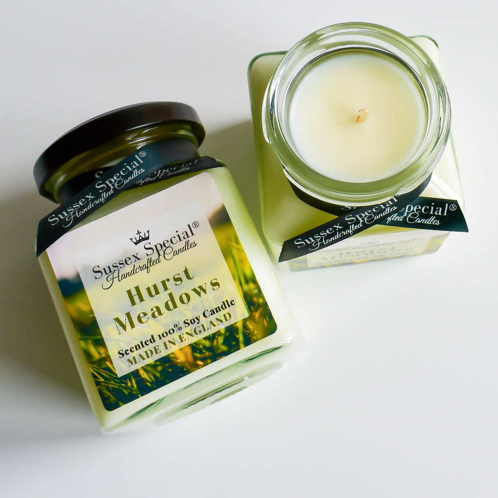 Sussex Special Hurst Meadows Luxury Scented Natural Soy Candle Freshly Cut Stems, Soft Grass, Lily
