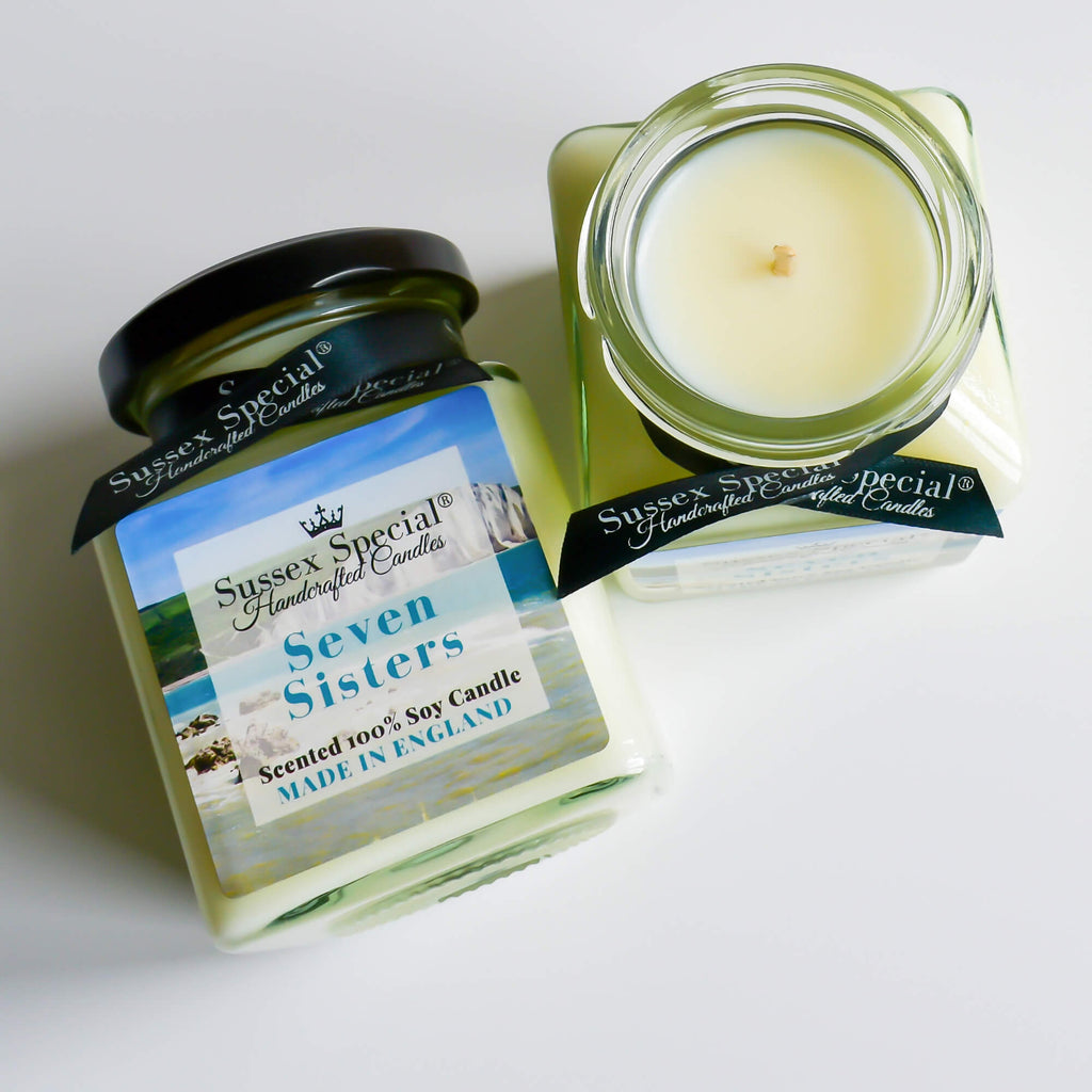 Sussex Special Seven Sisters Luxury Scented Natural Soy Candle Ozonic Marine Accord, Lily, Rose, Jasmine, Cyclamen, Herbal Notes