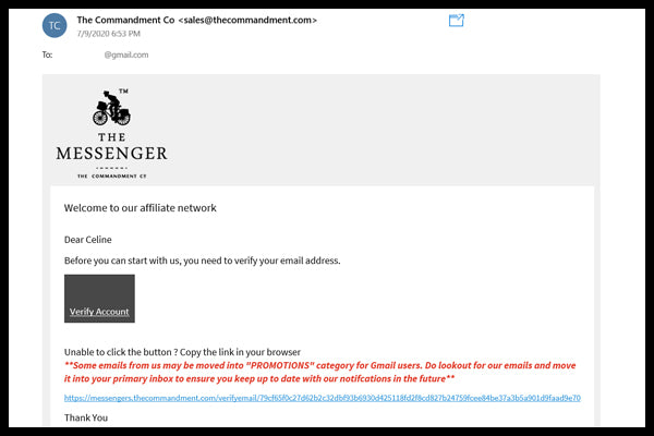 Referral link approval e-mail.