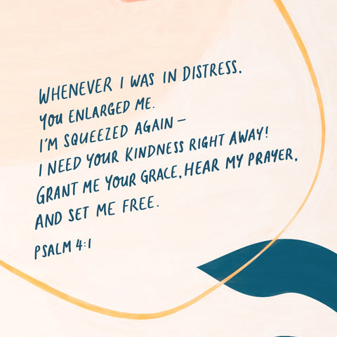 """""""Whenever I was in distress, you enlarged me. I'm being squeezed again – I need your kindness right away! Grant me your grace, hear my prayer, and set me free."""" (ps 4:1) - Encouraging short sermon series by The Commandment Co"""
