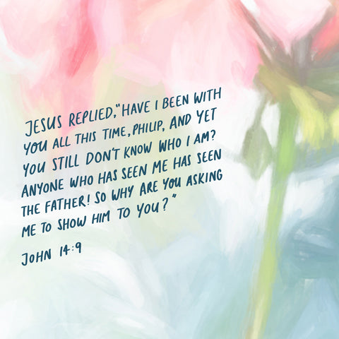 """Jesus replied, """"Have I been with you all this time, Philip, and yet you still don't know who I am? Anyone who has seen me has seen the Father! So why are you asking me to show him to you?  John 14:9 - Encouraging short sermons and devotionals compiled by The Commandment Co"""