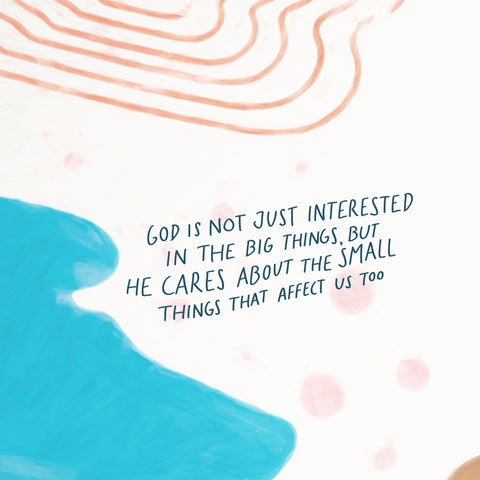 God is not just interested in the big things that affect us, but he cares about the small things that affect us too.- Encouraging short sermons and devotionals compiled by The Commandment Co