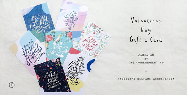 The Commandment Co valentines day card set collab with Handicaps Welfare Association Singapore