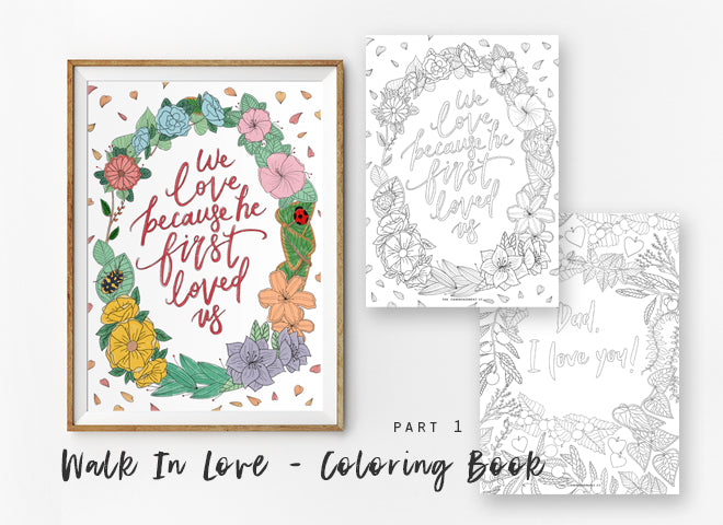 Colouring book printable with theme Love never fails.