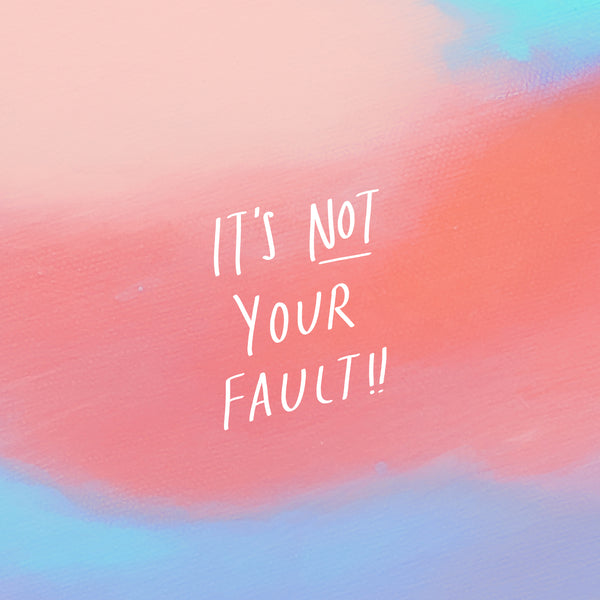 It is not your fault graphic design. Christian messages.
