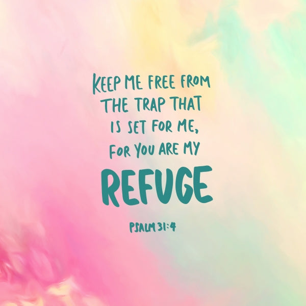 Seek refuge in our Lord! Colourful watercolour Christian themed wallpaper