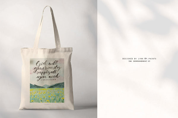 Christian Tote bag design with collabplus designers name in front