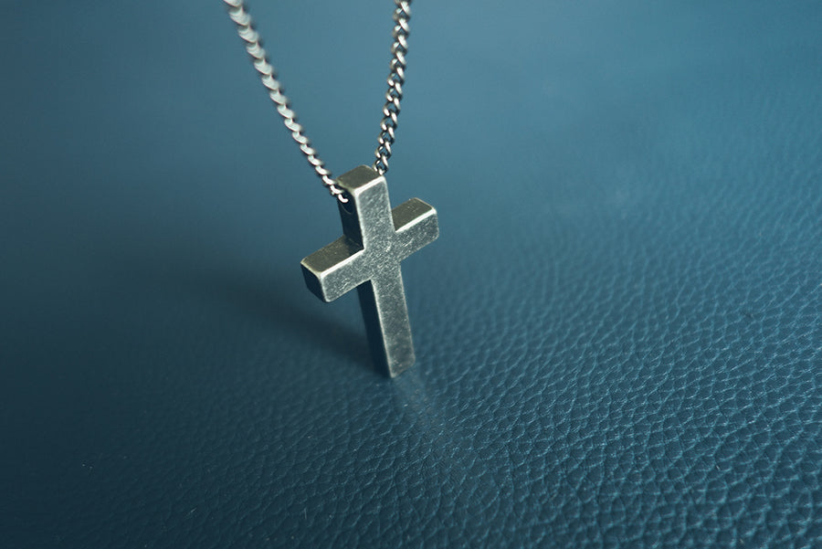 gunmetal stainless steel cross necklace. 2.3 cm Diameter Pendant Adjustable Chain 63 cm - 68 cm