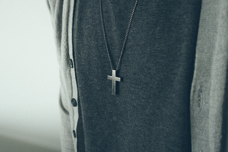 gunmetal cross necklace. Father's day special