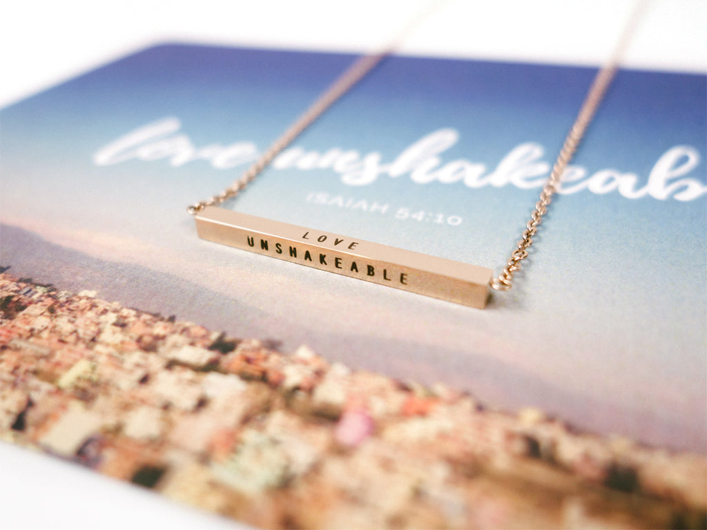 Love unshakeable necklace in rose gold by J&Co Foundry