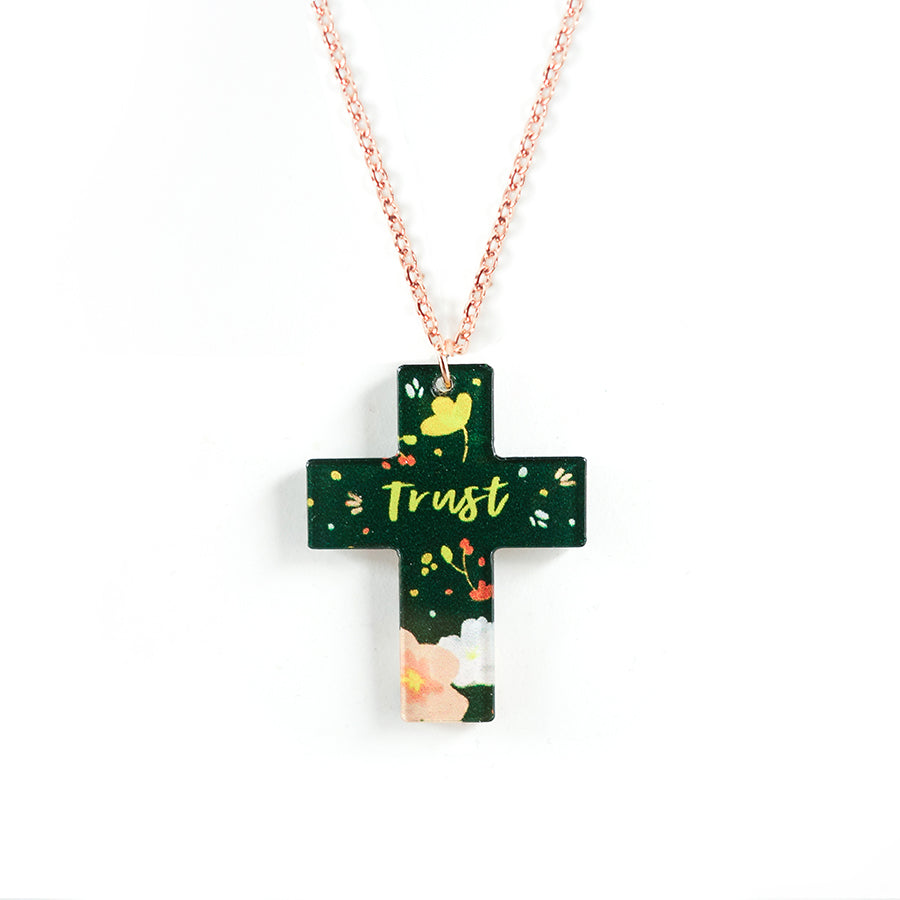 Acrylic forest green pendant with flower designs and encouraging verse 'trust' makes for unique gifts for your Christian friends.
