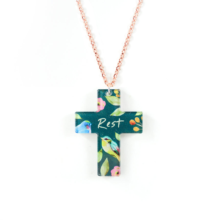 Acrylic forest green pendant with rainforest designs and encouraging verse 'rest' makes for unique gifts for your Christian friends.