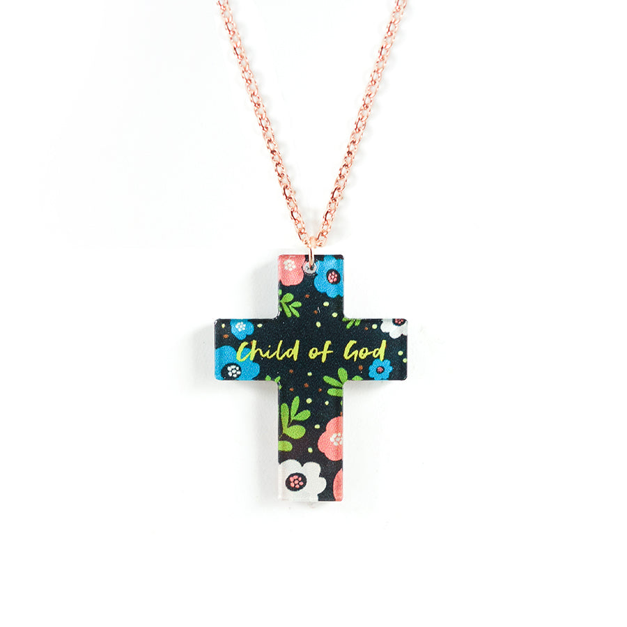 Acrylic black cross pendant with floral designs and encouraging verse 'Child of God' makes for unique gifts for your Christian friends.