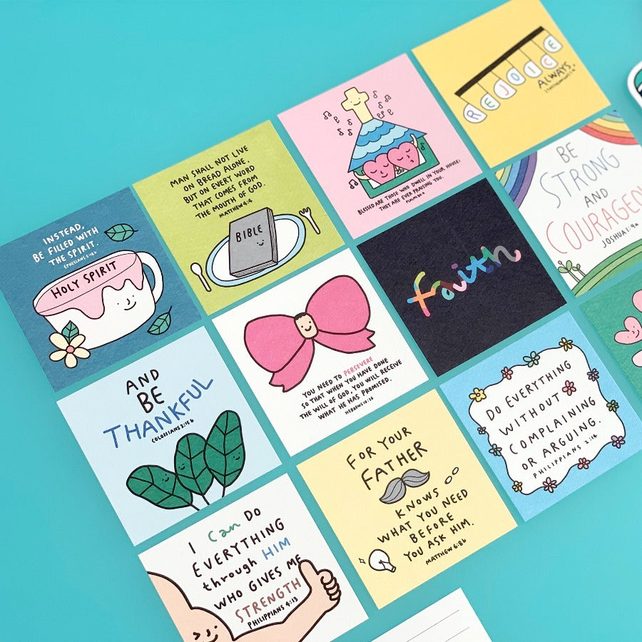 Mini postcard set by Goodnewsdrawing! Christian bible verse postcard designs!