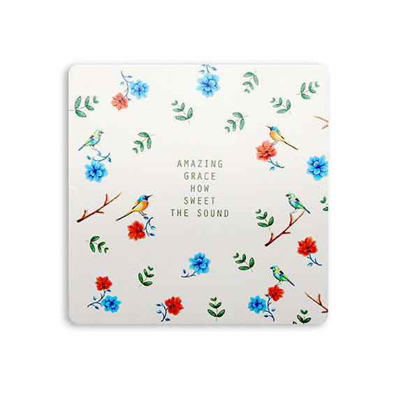 "Contemporary white wooden coaster with flowers and hummingbirds design with inspiring bible verse ""Amazing grace how sweet the sound"""