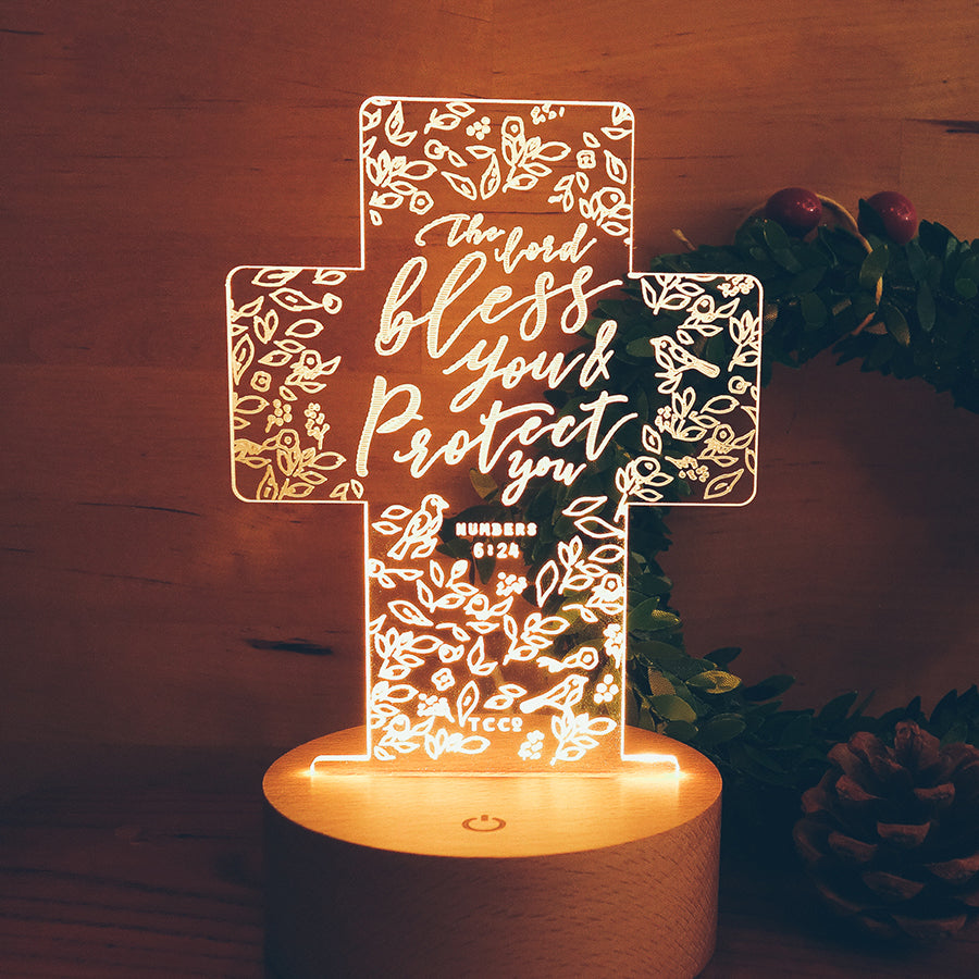 The Lord bless you and protect you, night light, cross shaped with floral garden details