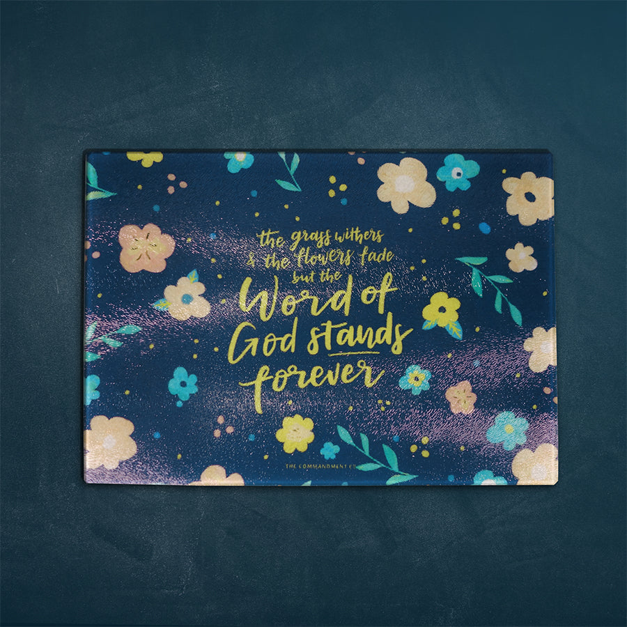 Inspirational cutting board featuring bible verses. Great collectible for kitchen accessories. Multipurpose and can be used as cheese board and presentation platter. 'The word of the Lord will last forever'