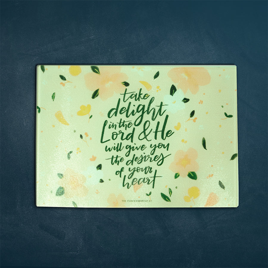 Inspirational cutting board featuring bible verses. Great collectible for kitchen accessories. Multipurpose and can be used as cheese board and presentation platter. 'Take delight in the Lord and he will give you the desires of your heart'