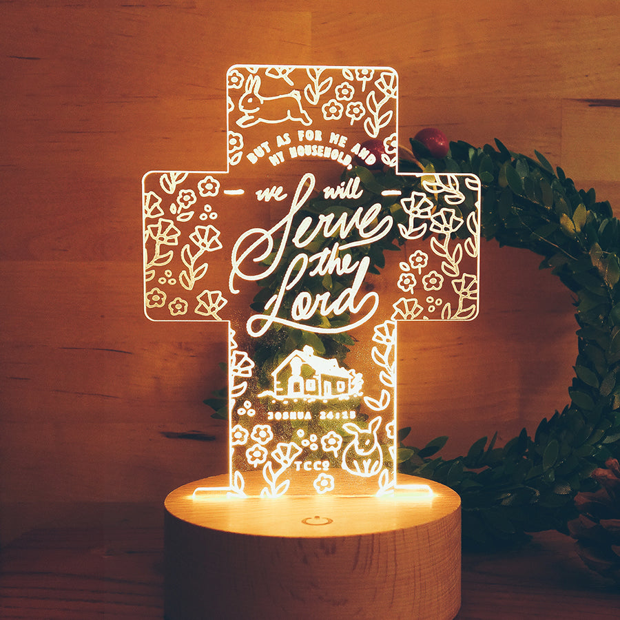 As for me and my household, we will serve the Lord. Night light cross design