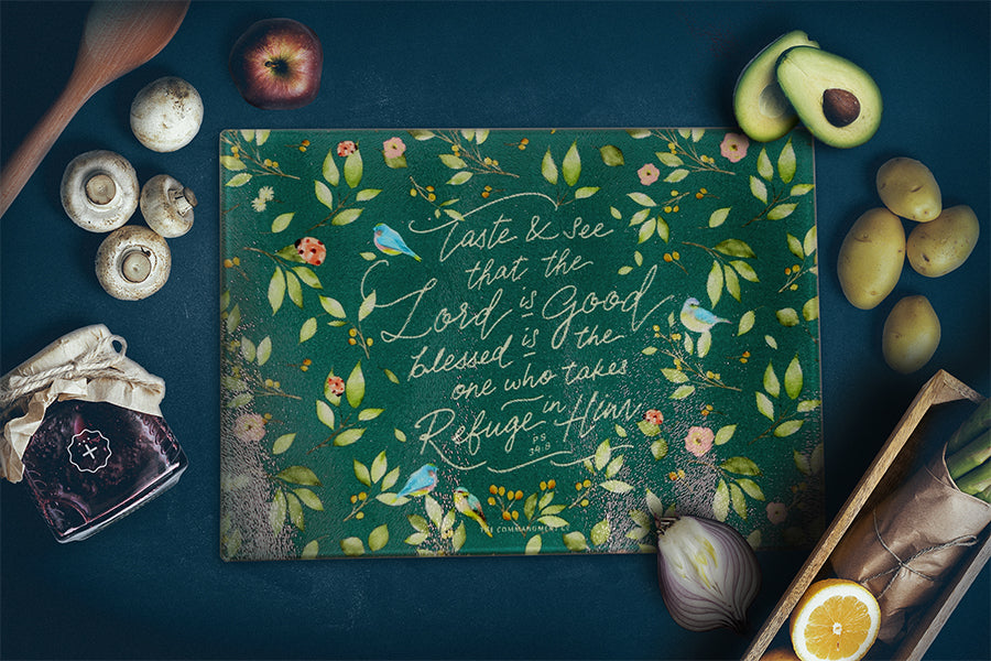 Cutting board with inspirational messages will remind us to be grateful for the feast laid before us. Great motivational cutting board.