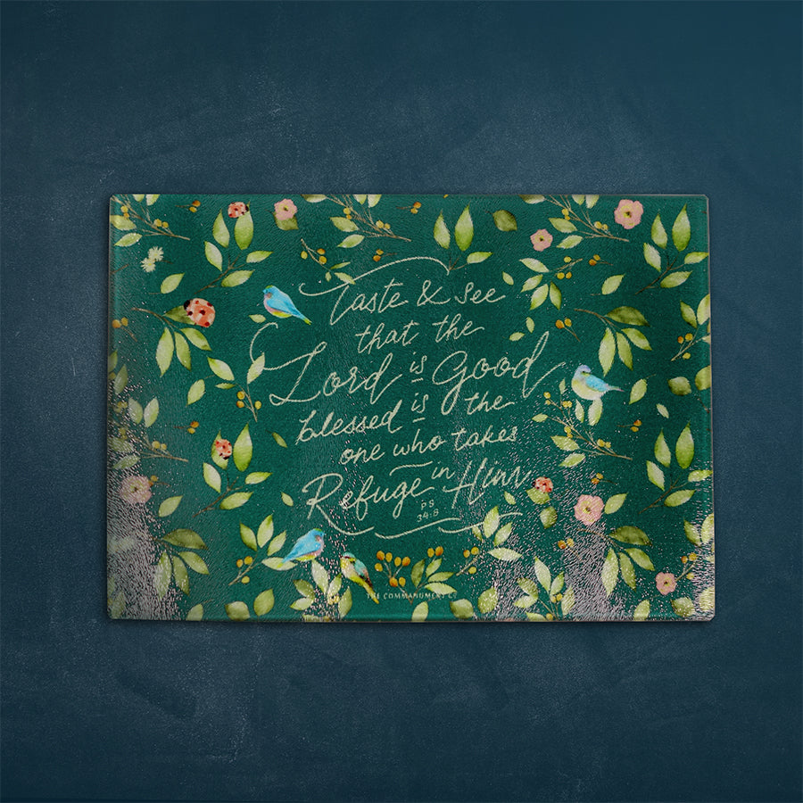 Inspirational cutting board featuring bible verses. Great collectible for kitchen accessories. Multipurpose and can be used as cheese board and presentation platter. 'Taste and see that the Lord is good'.