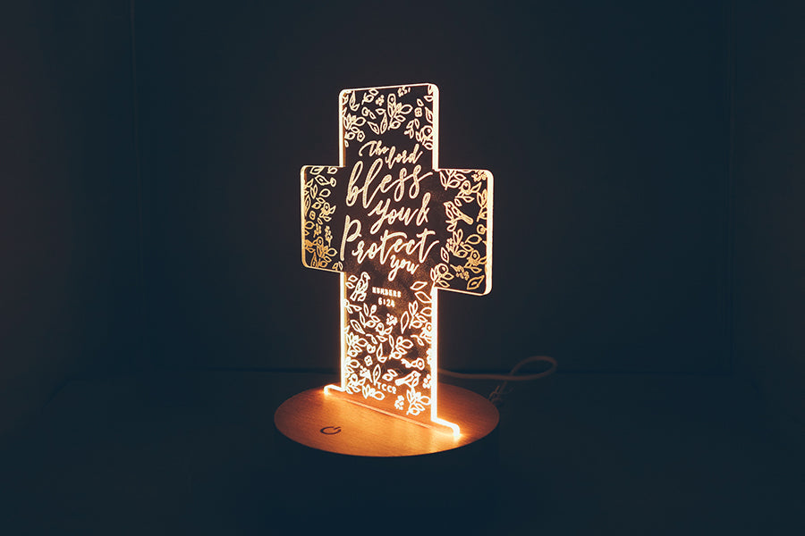 The commandment Co night light cross shape
